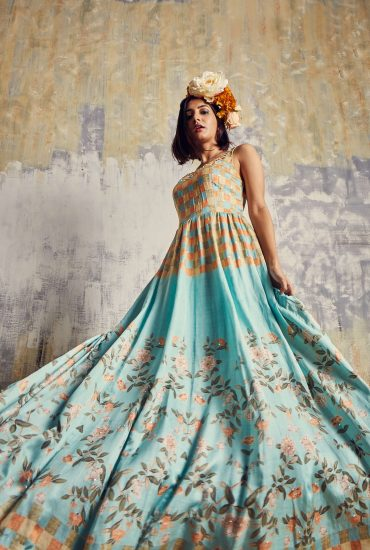 Mint Blue satin Linen Long dress with the combination of checks & floral prints & mosaic hand embroidered neckline with spiral organza scarf