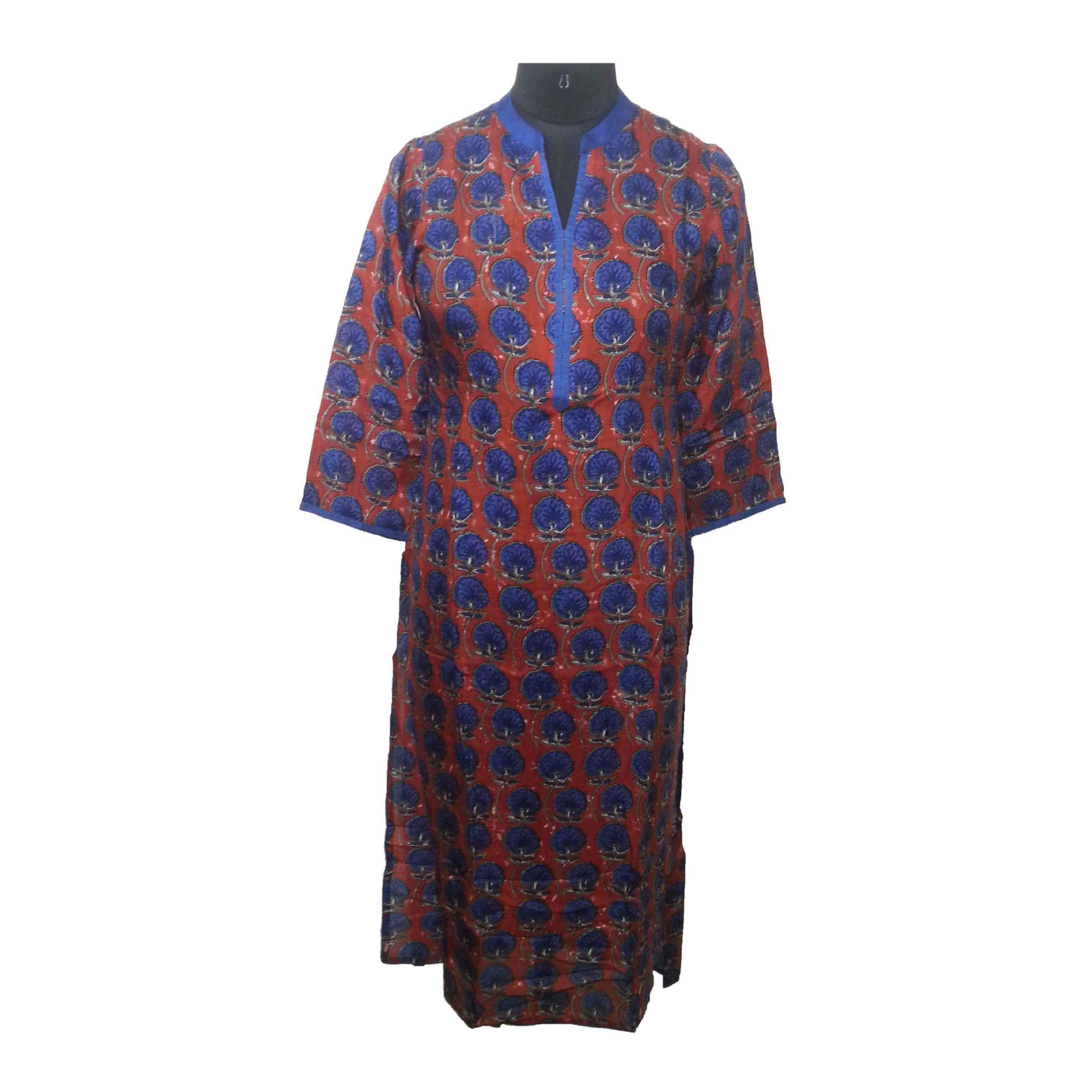 Stand Collar Kurti Designs : Elegant stand collar crepe long designer orange kurti